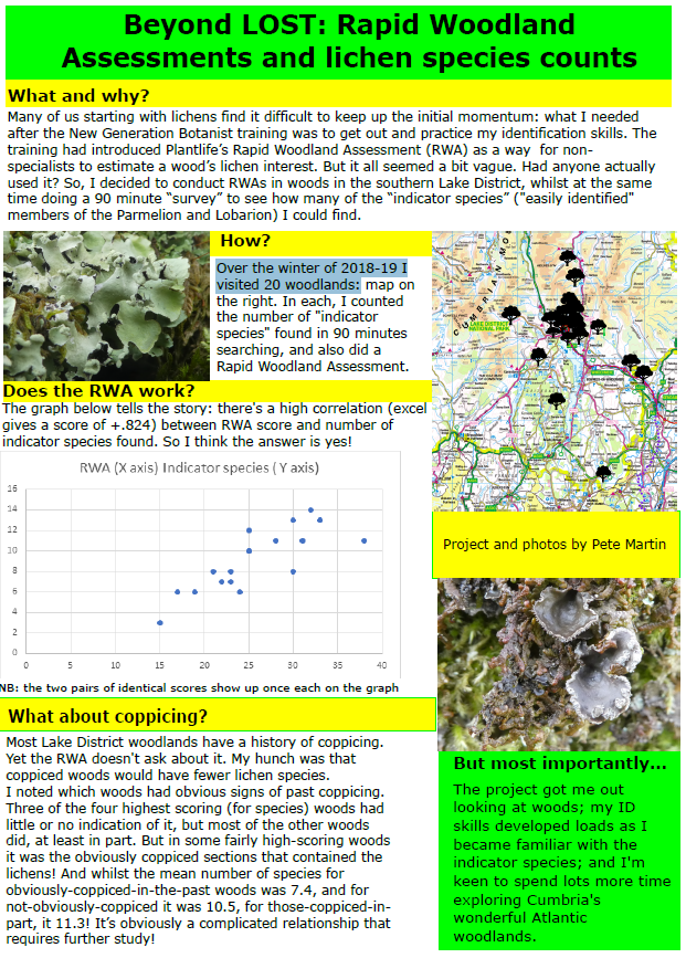 Pete Martin's poster on his project to compare Rapid Woodland Assessments with indicator lichen species counts