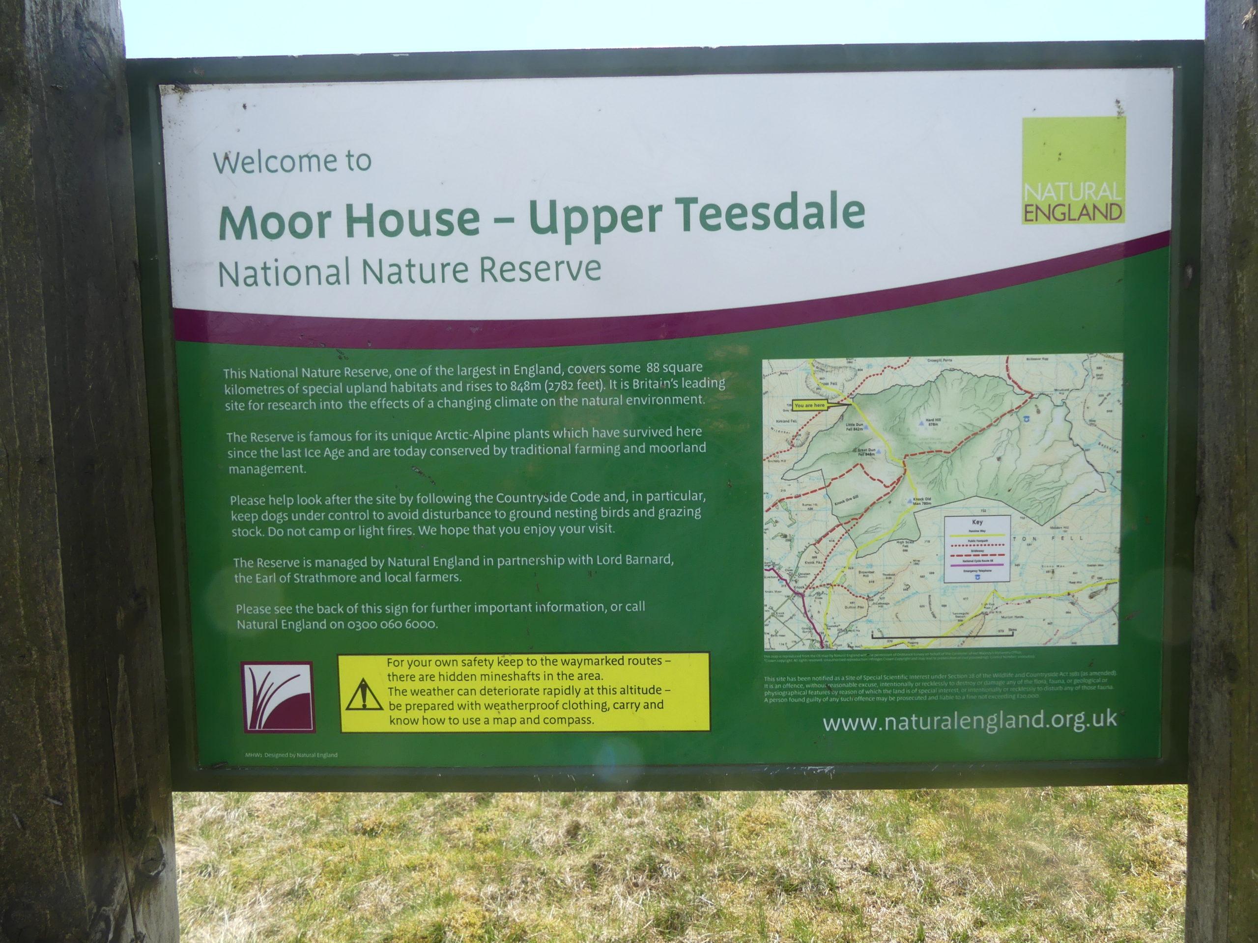 Moor House NNR noticeboard